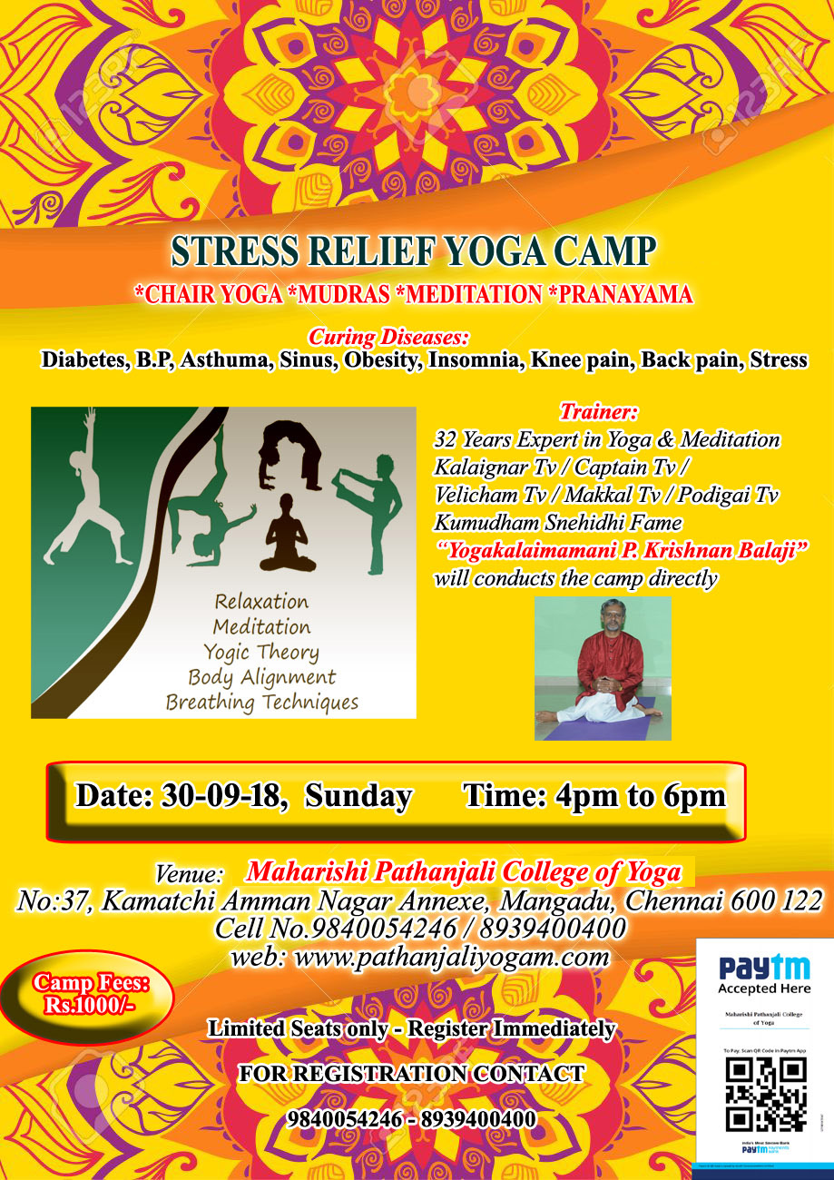 Stress Relief Yoga Camp – 30 September, 2018
