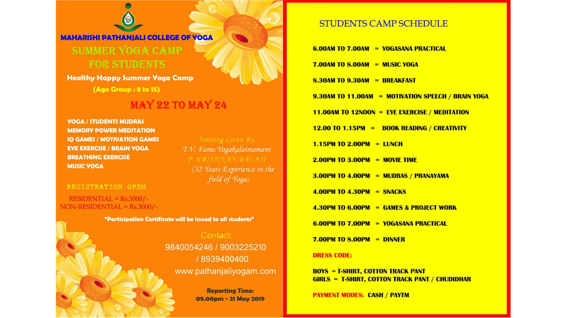 Summer Yoga Camp for Students